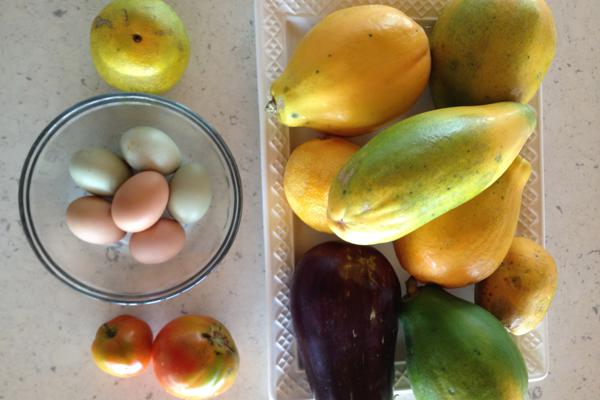 fruit and eggs