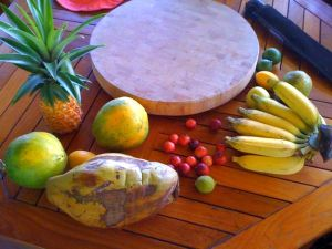 mango, avocado, Surinam cherry, loquat, pineapple, coconut, cacao, grapefruit, lime, guava, papaya, strawberry guava, breadfruit, liliquoi